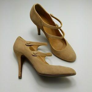 J. CREW nude suede Mona Mary jane heels